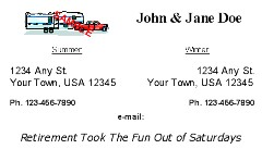 Snowbird & Fulltime RVer Address Card