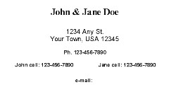 Personal Business Card or Address Card